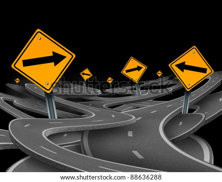 Staying on course symbol as a dilemma and concept of losing control and strategic journey choosing the right path for business with traffic signs tangled roads and highways in a confused direction.