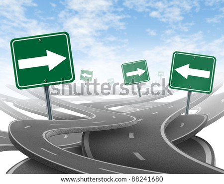 Staying on course symbol  as a dilemma and concept of losing control of ones goals and strategic journey for business with green traffic signs tangled highways in a confused direction with arrows.