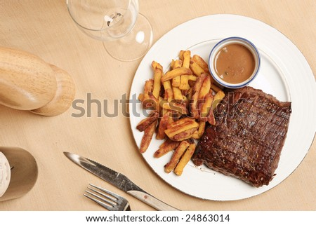 steak and fries on a plate with focus on the steak