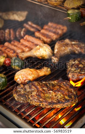 Steak and other Meat on BBQ