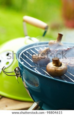 Steak and other Meat on BBQ - stock photo