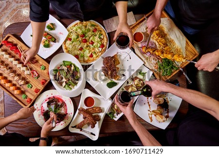 steak, barbecue, pizza, sushi, salads