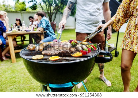 Steak barbecues cooking grilling on charcoals #651254308