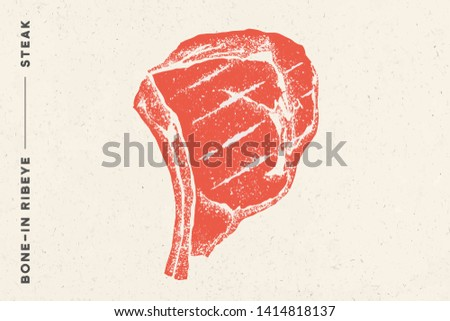 Steak, Bone-In Ribeye. Poster with steak silhouette, text Bone-In Ribeye, Steak. Logo typography template for meat shop, market, restaurant. Design - banner, sticker, menu. Illustration