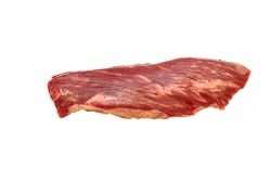 Steak Bottom Sirloin Flap Meat (Bavet) of marbled beef on a white background