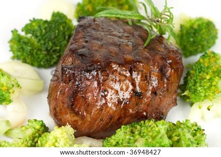 Steak dinner , Fillet Mignon- juicy grilled,isolated pepper steak