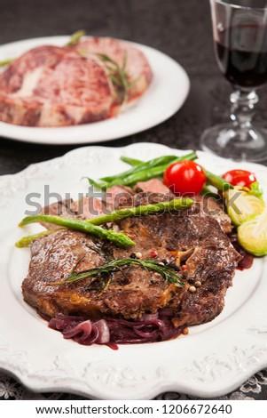 Steak on plate #1206672640