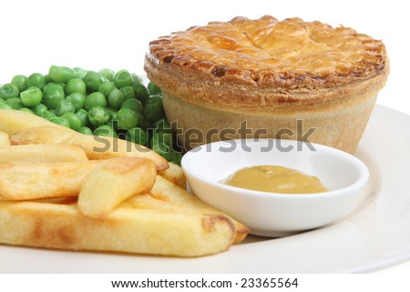 Steak pie with chips, peas and mustard