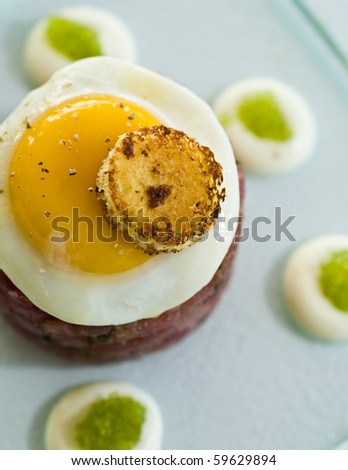 steak tartare with egg and toast