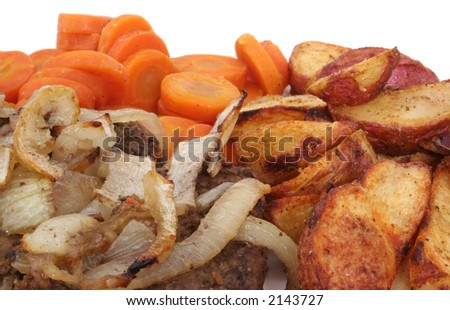 Steak With Onions, Carrots and Baked Potato Wedges