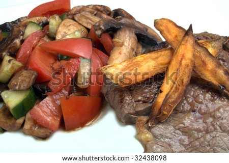 steak with sweet potato chips and tomato salad