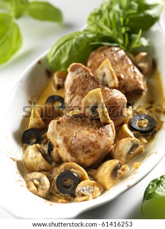 steaks with mushrooms - stock photo