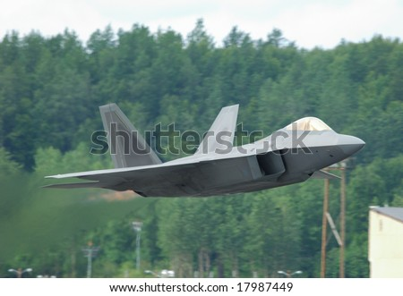 Stealth jet fighter F-22 Raptor taking off - Arctic Thunder airshow 2008 - Anchorage - Alaska - USA