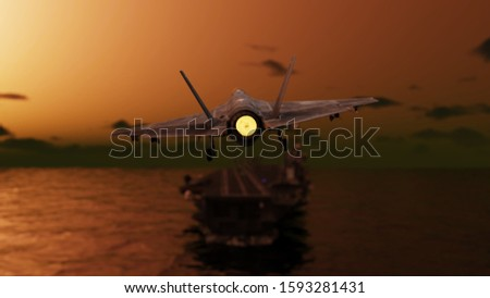 Stealth Jet fighter landing at dawn to aircraft carrier in ocean 3d rendering stock photo