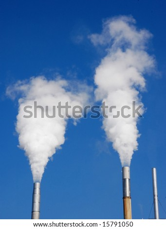Steam blowing out of two stacks