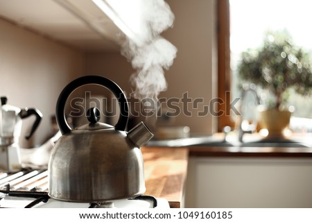 steam coming out of the kettle in the kitchen Stock photo ©