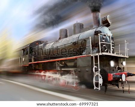 steam engine, locomotive in motion blur - stock photo