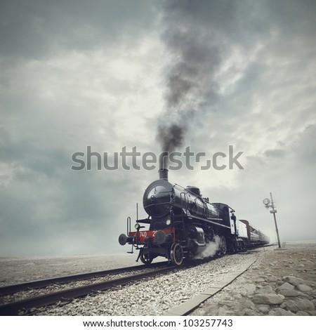 steam engine train - stock photo