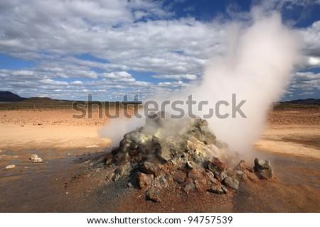 Steam from the volcanic underground at Hverir near Myvatn in northern Iceland