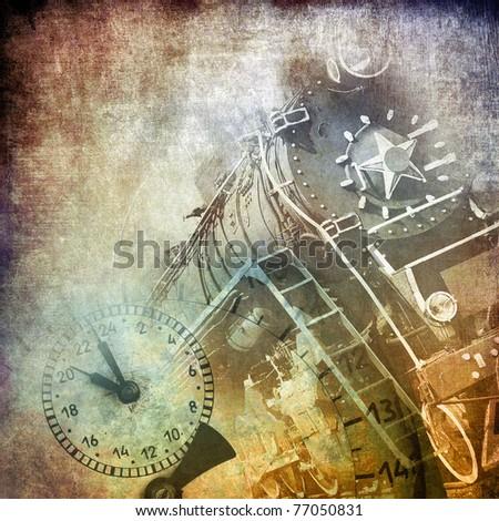 Steam locomotive, art grunge background