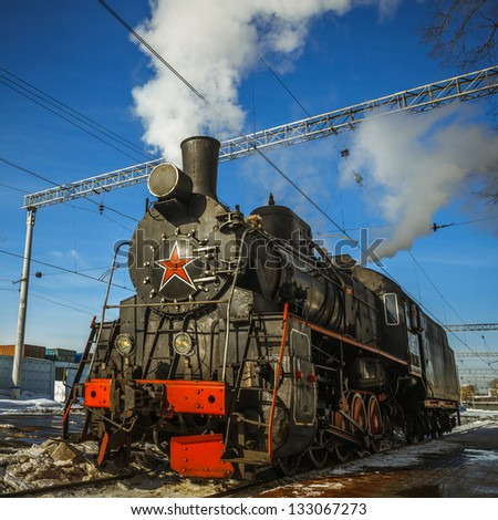 Steam Locomotive at Riga station in Moscow