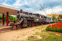 Steam locomotive at the Dalat railway station in Da Lat city in Vietnam
