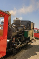 Steam locomotive at the Rothorn Kulm station in Switzerland.