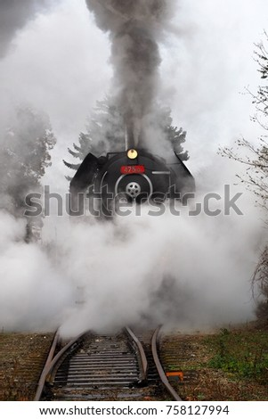 Steam locomotive, historic steam locomotive driving, Brno, Mikulov, Czech republic #758127994