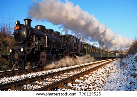 Steam locomotive, historic steam locomotive driving, Brno, Mikulov, Czech republic