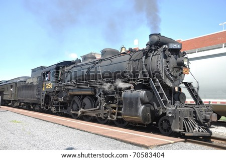 Steam locomotive in Steamtown National Historic Site in Scranton, Pennsylvania