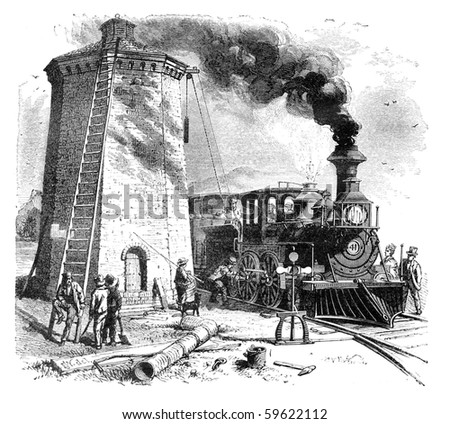"""Steam Locomotive is being filled with water. Illustration originally published in Hesse-Wartegg's """"Nord Amerika"""", swedish edition published in 1880. The image is currently in public domain."""