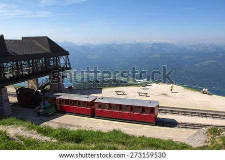 Steam locomotive of a vintage cogwheel railway going to Schafberg, Wolfgangsee / ST. WOLFGANG, AUSTRIA :Schafberg Peak (1783m)
