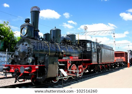 steam locomotive on a background of blue sky