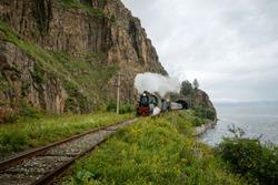 Steam locomotive on the Circum-Baikal Railway near lake Baikal in Eastern Siberia