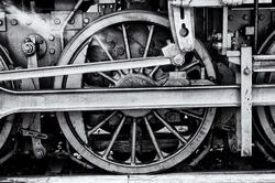 Steam locomotive wheels (black and white).
