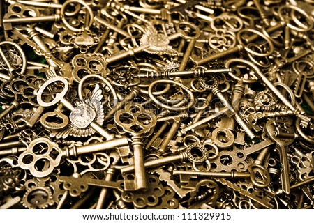 steam-punk background within a lot of vermeil keys
