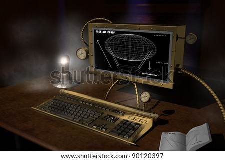 steam punk computer workstation