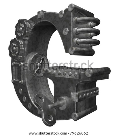 steam punk letter g on white background - 3d illustration - stock photo