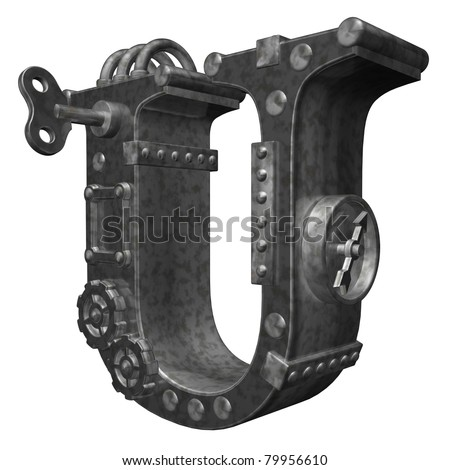 steam-punk letter u on white background - 3d illustration