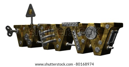 steam punk letters www on white background - 3d illustration