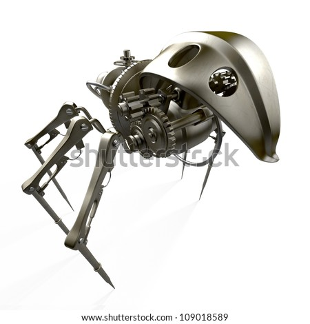 Steam punk spider - back view / Robot - spider - spy