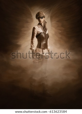 Stock Photo Steam punk theme digital artwork. Female with weapon and wings, symbolizing an uprising.