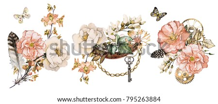 steam punk watercolor Illustration, feathers, clockwork,  jewelry, Flowers. tattoo style. Illustration isolated on white background. Vintage print.