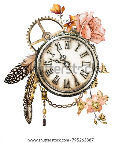 steam punk watercolor Illustration, roses, feathers, clockwork,  jewelry, clock,  Flowers. tattoo style. Illustration isolated on white background. Vintage print.