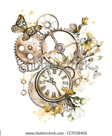 steam punk watercolor Illustration with wildflowers, keys, clockwork,  jewelry, clock, butterfly, Flowers. tattoo style. Illustration isolated on white background. Vintage print.