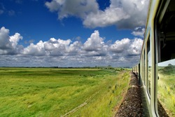 Steam train crossing the Baie de Somme (Picardy, France)