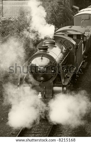 steam train in black and white