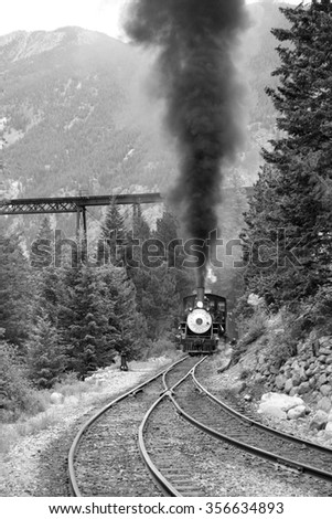 steam train is coming up. black ...