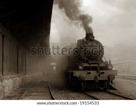 Steam train leaving bavarian village