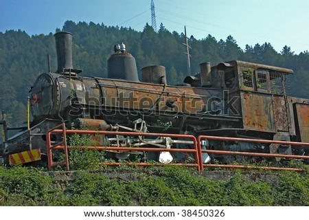 steam train left as a memorial to yugoslav resistance at the battle of nerevtsa where marshall Tito blew up the railway bridge to confuse the encircling german army